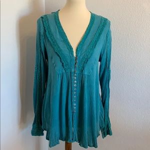 Nostalgia Turquoise Button Up Boho Top Size S EUC